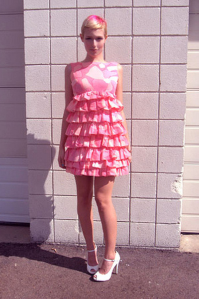 pink vintage dress - white free people shoes