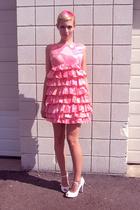 pink vintage dress - white free people shoes