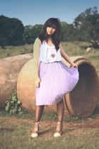 periwinkle long pleated Jewels skirt - brown booties no brand boots