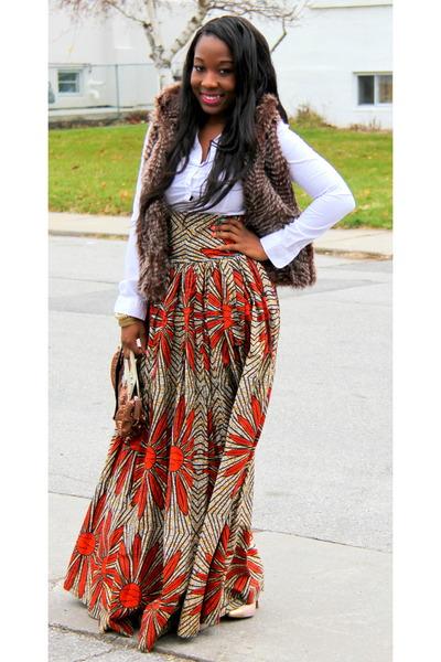 tawny skirt - bronze vest