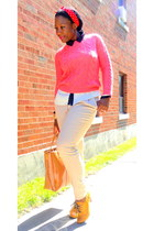 mustard shoes - hot pink H&M sweater - tawny bag