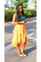 teal H&M top - light orange katie skirt