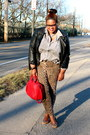 Burnt-orange-lane-bryant-jeans-black-asos-jacket-silver-thrift-shirt