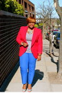 Heather-gray-bandolino-shoes-red-thrift-find-blazer-silver-gap-t-shirt