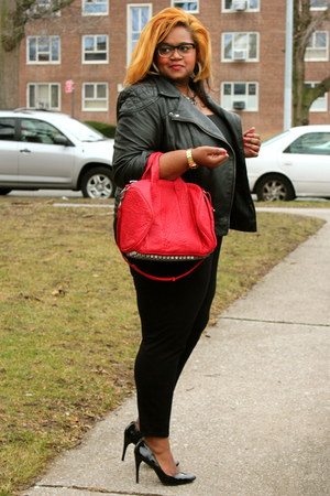 black leather asos jacket - red leather Alexander Wang bag