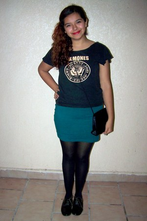 black velvet vintage bag - black oxfords shoes - teal Forever 21 skirt