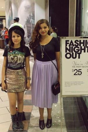 black oxfords shoes - black ballerina top - light purple skirt