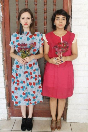 crimson dress - sky blue dress