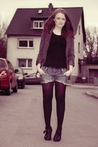 black H&M top - gray H&M blazer - blue DIY shorts - black Graceland shoes