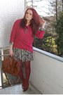 Brown-vintage-shoes-green-h-m-dress-maroon-gina-tricot-sweater-crimson-h-m