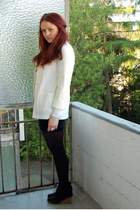 ivory H&M blazer - black Mango skirt - white H&M top - black Samboo wedges - whi