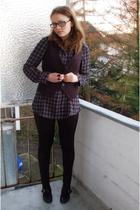 gray Pimkie blouse - black Miss Etam vest - H&M leggings - black Tamaris shoes -