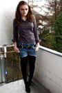 Black-h-m-cardigan-gray-vero-moda-blouse-blue-diy-shorts-black-gio-moda-sh