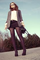 gray H&M blazer - beige moms sweater - black Mango skirt - black Gabor purse - b