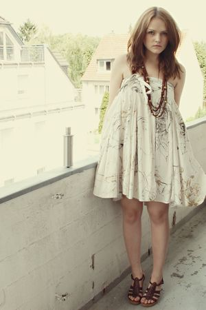 beige Zara dress - brown H&amp;M accessories - brown Akira shoes