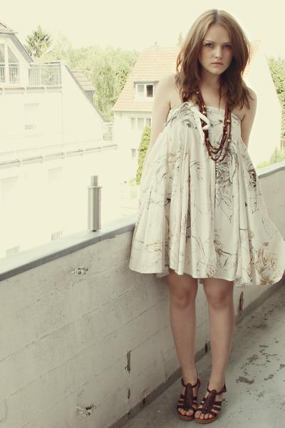 beige Zara dress - brown H&M accessories - brown Akira shoes