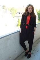 black H&M cardigan - black Amisu pants - orange H&M shirt - black H&M belt - bla