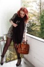 Green-h-m-dress-brown-vagabond-shoes-brown-h-m-bag