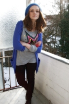 blue H&M cardigan - gray fishbone top - black Only pants - blue H&M hat - blue H