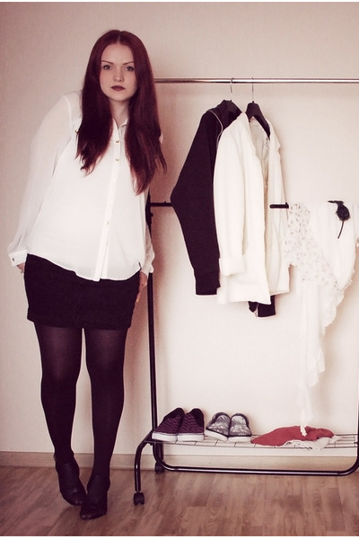 black Buffalo shoes - black H&amp;M skirt - white Primark blouse