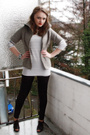White-vero-moda-shirt-gray-saint-tropez-cardigan-black-h-m-leggings-black-