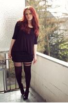 black asos tights - black Mango skirt - black H&M top - black 5th Avenue heels