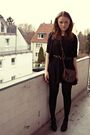 Black-unknown-brand-dress-black-graceland-shoes-brown-tally-weijl-purse-bl