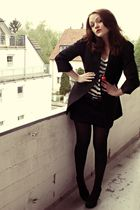 black Mango skirt - white H&M shirt - black vintage jacket - red H&M necklace -