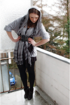 gray H&M cardigan - gray H&M scarf