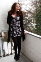 gray H&M dress - black Esprit cardigan - black Tamaris shoes