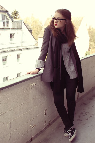 gray H&M blazer - black H&M top - gray H&M cardigan - black H&M leggings - black