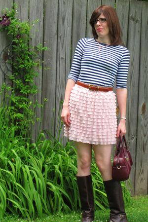 pink Target skirt - Target shirt - brown vintage boots - brown vintage purse - b