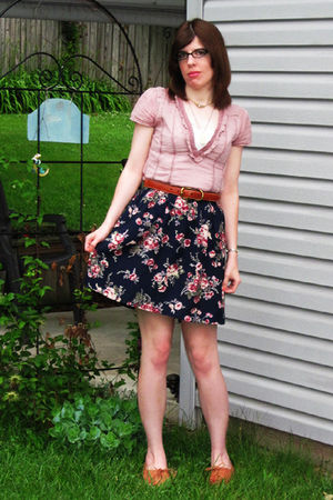 purple Urban Outfitters blouse - blue thrifted skirt - brown Urban Outfitters sh