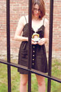 Black-urban-outfitters-dress-white-vintage-scarf-brown-thrifted-belt-gold-