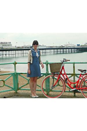 sky blue sailor vintage dress - white anchor print new look flats