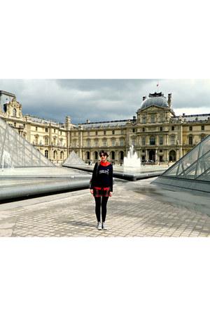 navy cashmere Gérard darel jumper - maroon tartan Forever 21 skirt