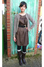 Dark-brown-boots-brown-silk-shift-george-dress