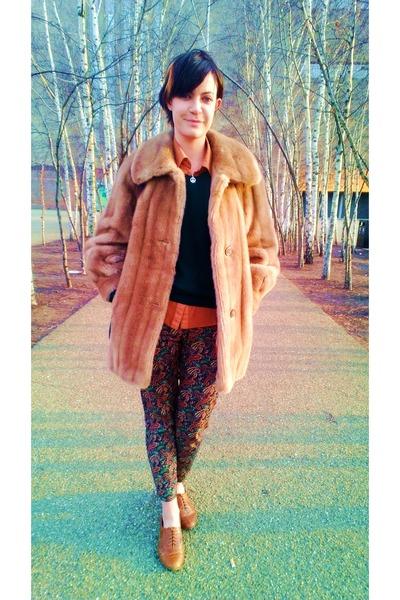tawny brogues Primark loafers - bronze faux fur vintage coat