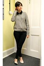 black skinny Primark jeans - heather gray cable knit H&M jumper