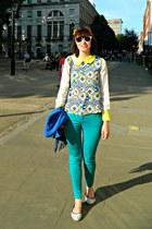 white Primark sunglasses - aquamarine skinny jeans Monsoon jeans