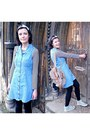 Sky-blue-denim-vintage-dress-cream-backpack-accessorize-bag