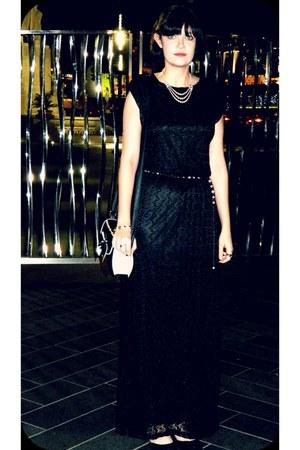 black lace maxi new look dress - black bow new look bag