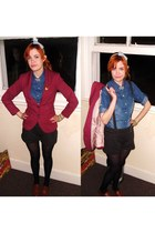 maroon H&M blazer - blue denim unknown shirt