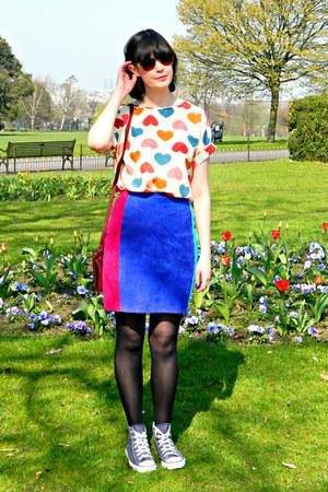deep purple suede pop boutique skirt - maroon River Island bag