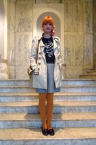 mustard Accessorize tights - beige belted mac new look coat