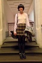 mustard tartan vintage skirt - black buckle new look shoes