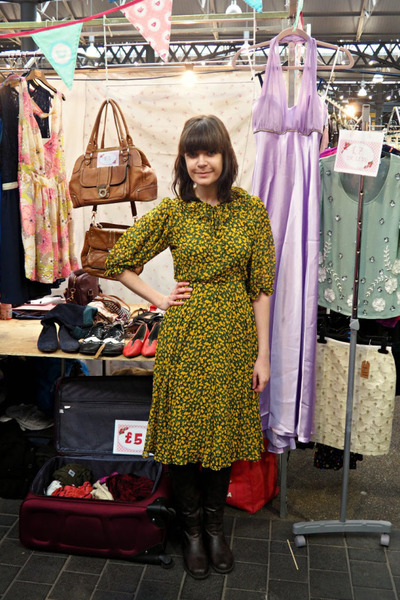 yellow patterned vintage dress