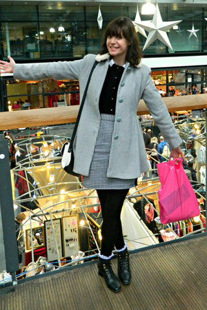 black velvet vintage shirt - black new look boots - sky blue tweed TK Maxx coat