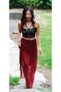 Ruby-red-chiffon-maxi-forever-21-skirt-black-lace-top-camel-no-brand-wedges
