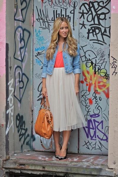 cream tulle PB&J skirt - tawny madison coach bag